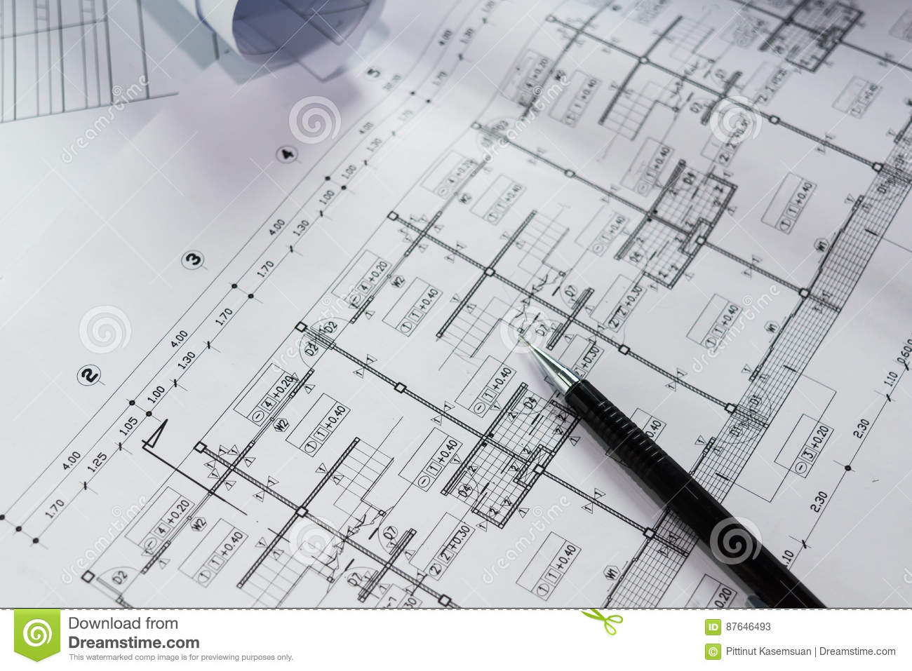 engineering diagram blueprint paper drafting project stock image