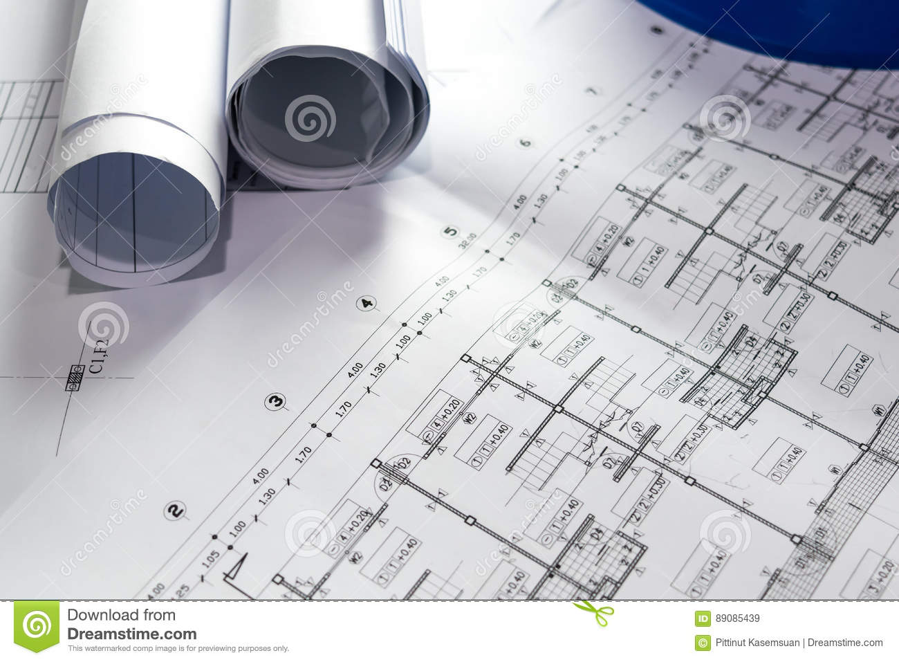 engineering diagram blueprint paper drafting project sketch stock