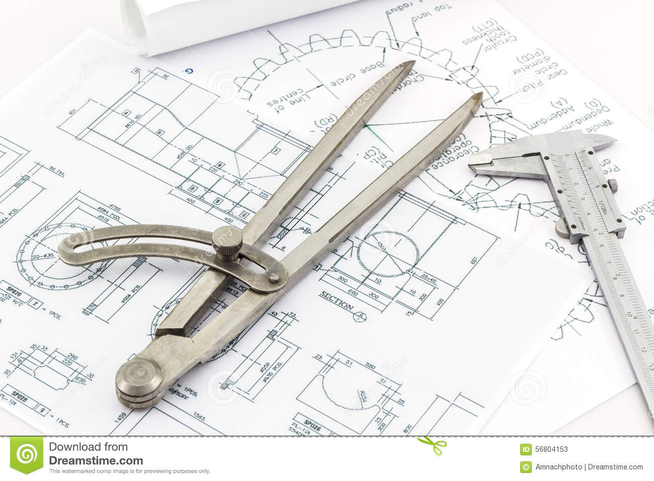 Engineering dividers tools and vernier scale stock photo for Blueprint scale