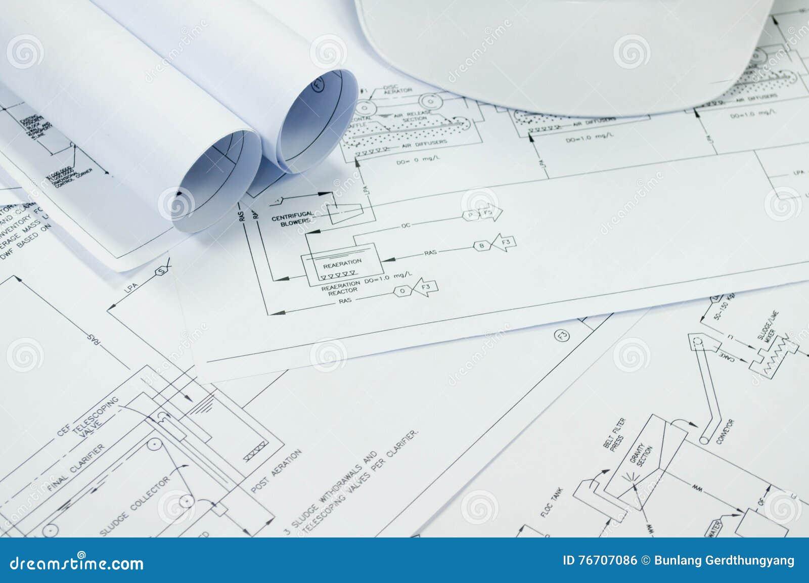 Engineering drawing for environmental engineering process to download engineering drawing for environmental engineering process to treatment stock photo image of blueprint malvernweather Choice Image