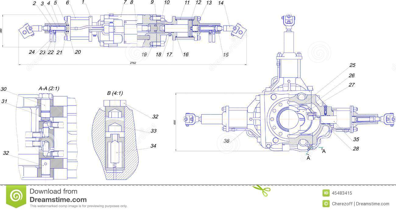 Engineering Drawing Of Industrial Equipment Stock Illustration - Illustration of industry ...