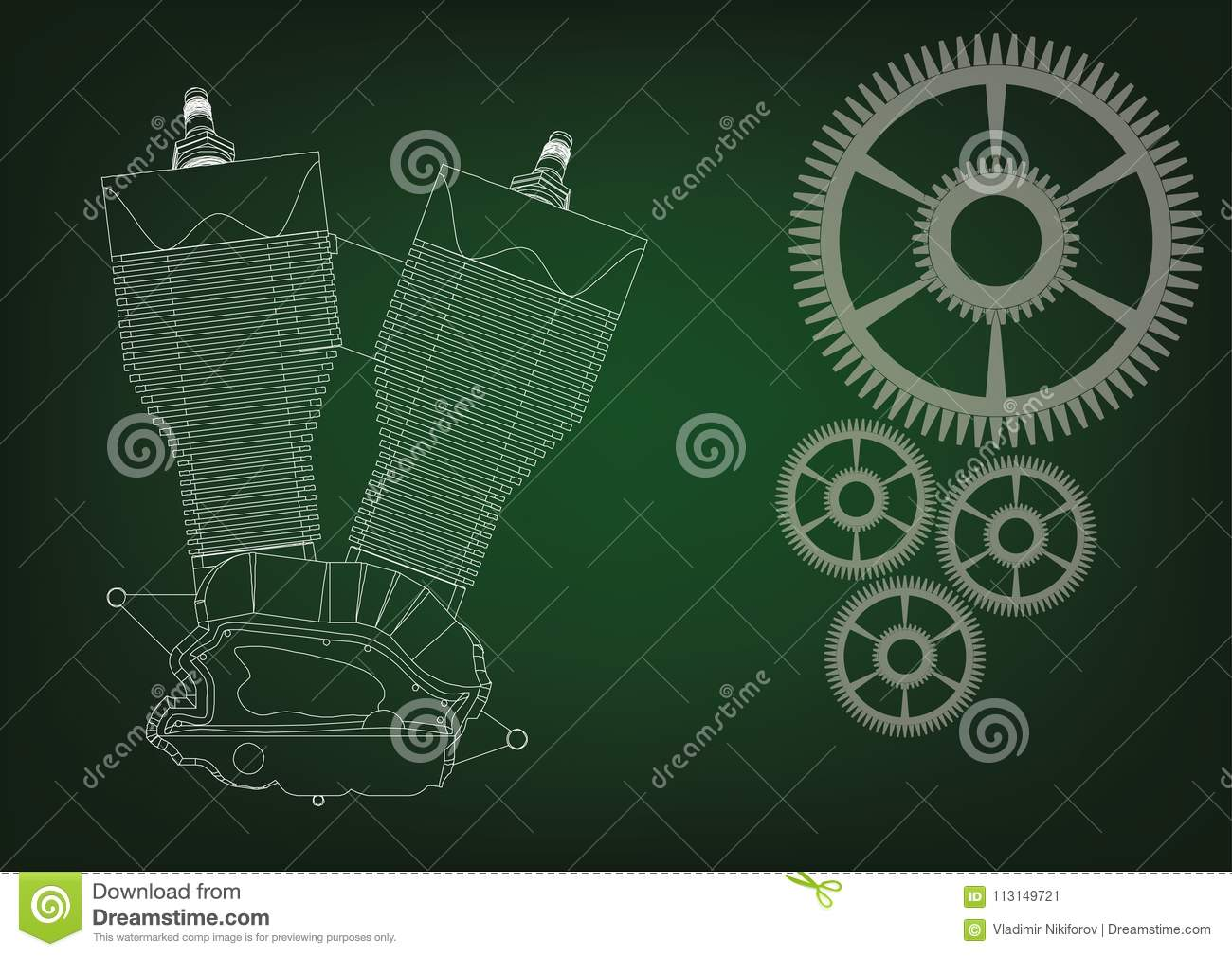 Motorcycle engine and cogwheels on a green background