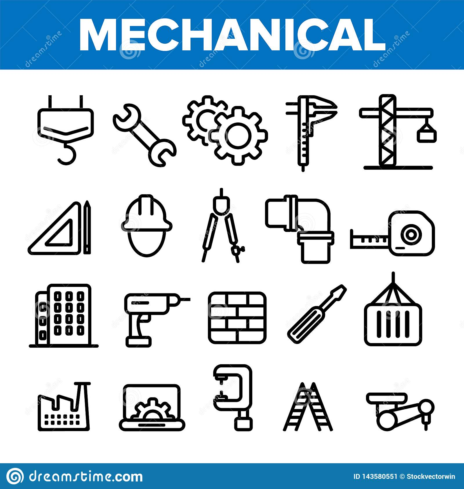 Engineering Line Icon Set Vector. Technician Design. Machinery Engineering Icons. Industrial Factory Production. Thin