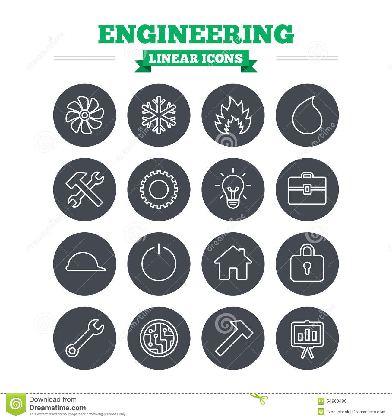 engineering linear icons set  thin outline signs stock