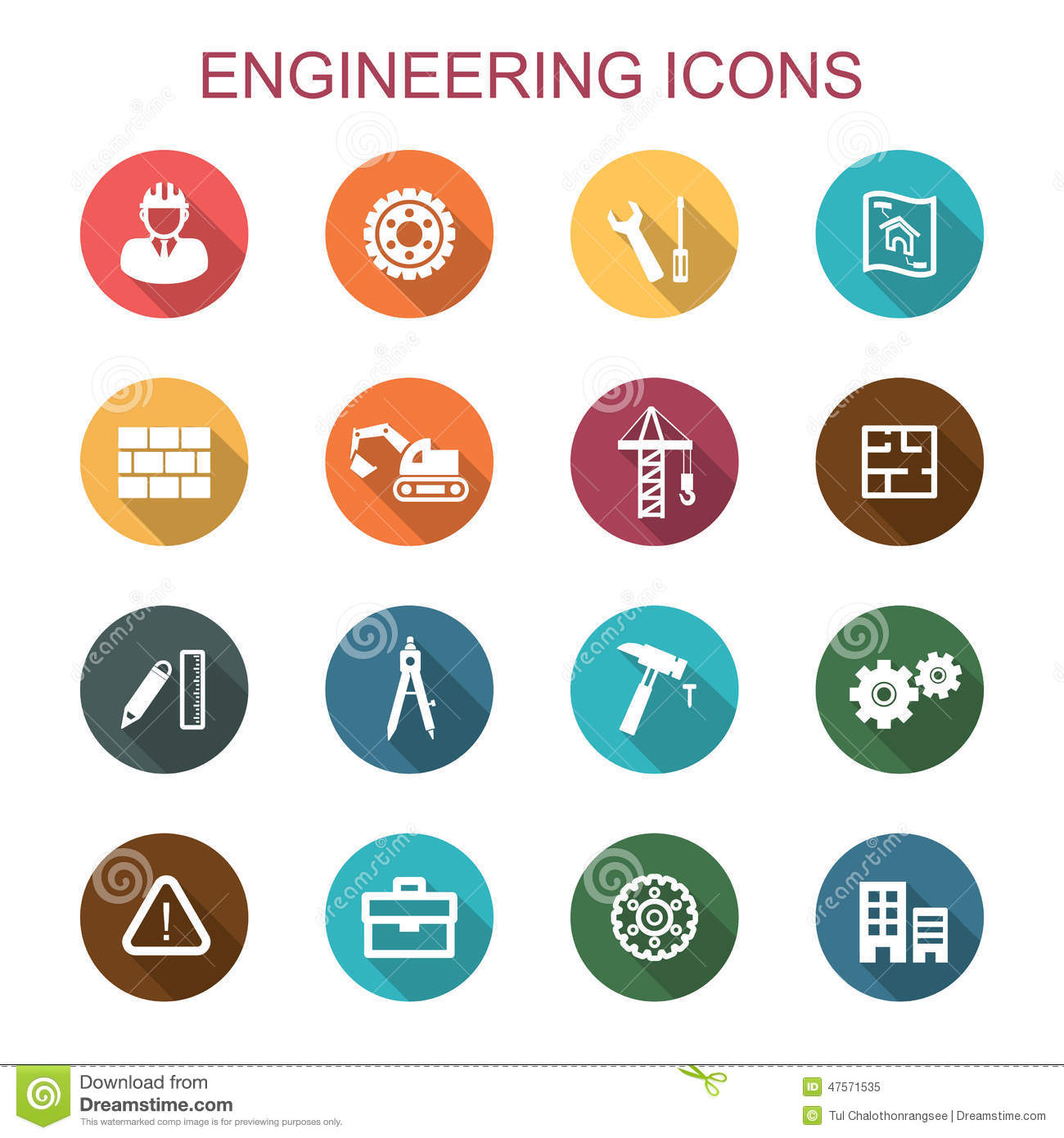 Engineering Long Shadow Icons Stock Vector Illustration