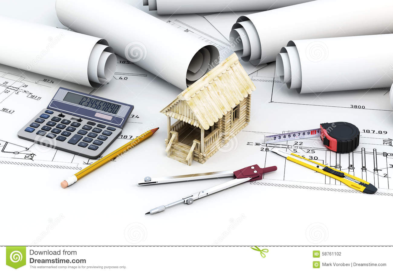 Engineering project architect with tools and wooden house for Home architecture tools