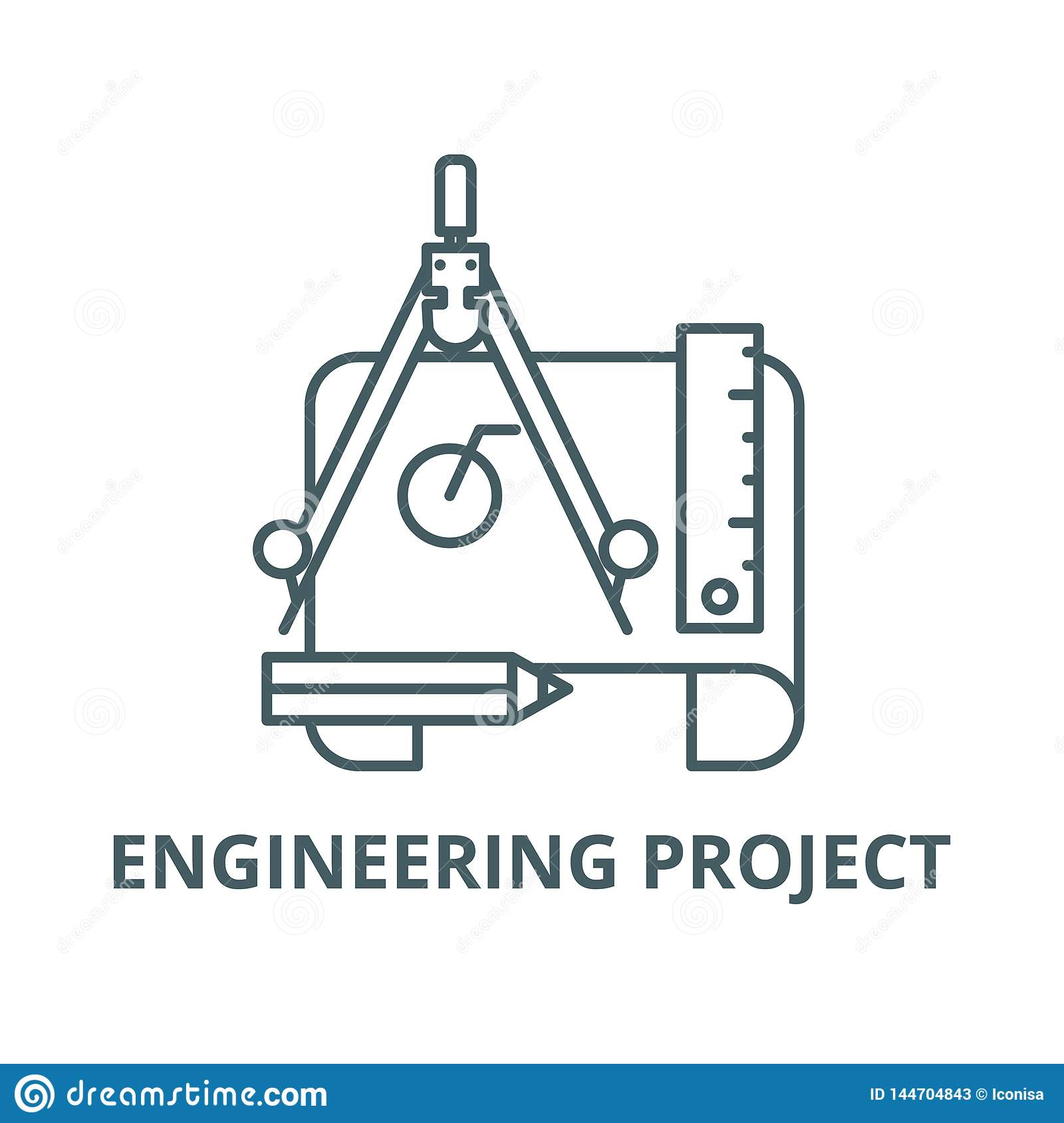 Engineering project line icon, vector. Engineering project outline sign, concept symbol, flat illustration