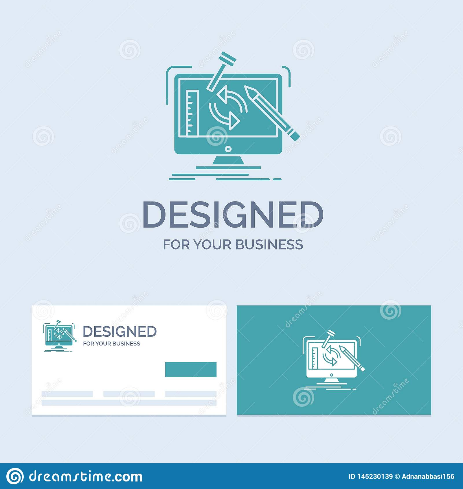 engineering, project, tools, workshop, processing Business Logo Glyph Icon Symbol for your business. Turquoise Business Cards with