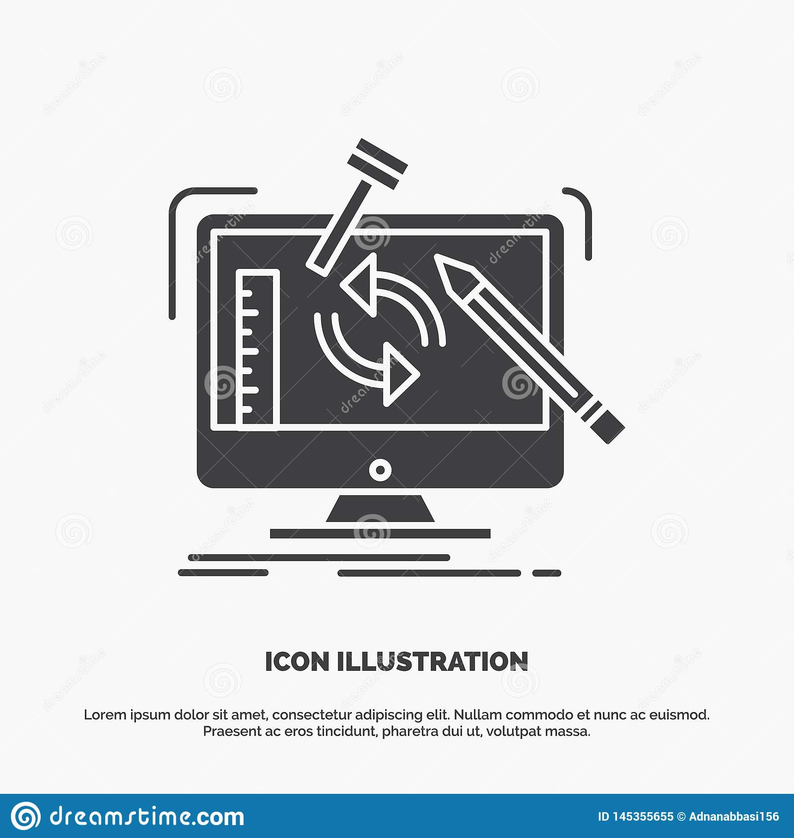 engineering, project, tools, workshop, processing Icon. glyph vector gray symbol for UI and UX, website or mobile application
