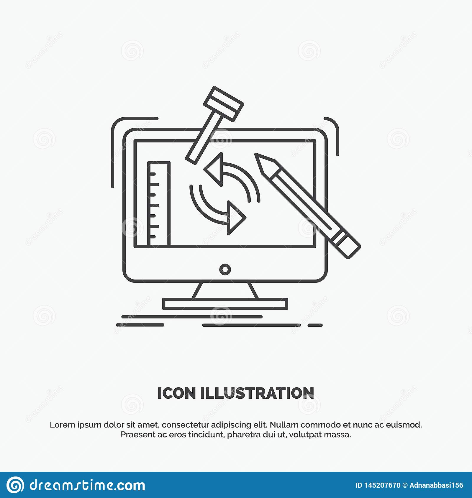 engineering, project, tools, workshop, processing Icon. Line vector gray symbol for UI and UX, website or mobile application