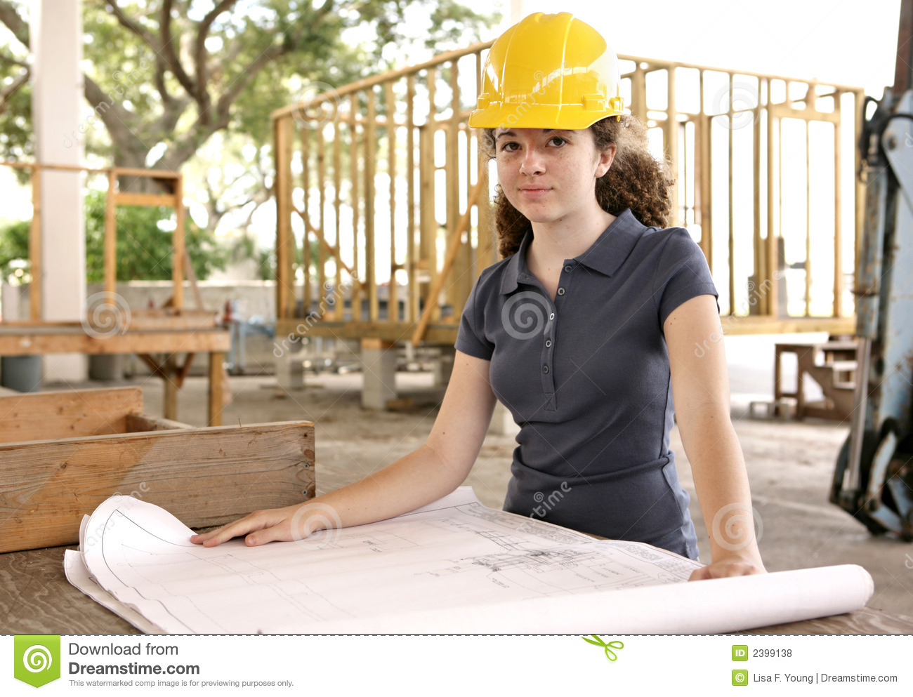 engineering student with bluep stock photo image of blueprints