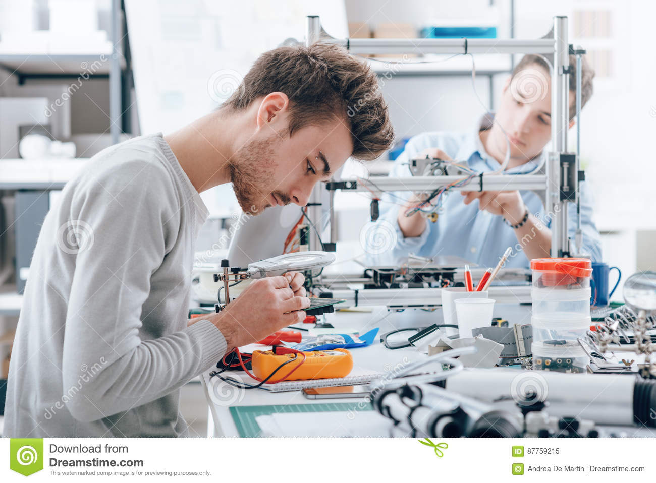 Engineering Students Working In The Lab Stock Image Of Voltage And Current Tester A Student Is Using Another Background 3d Printer