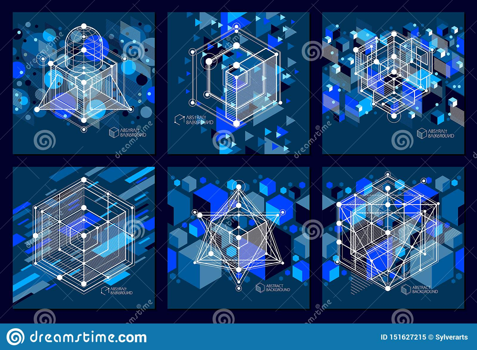 Engineering Technology Vector Dark Blue Wallpapers Set Made With 3d Cubes And Lines Engineering Technological Wallpaper Made With Stock Vector Illustration Of Architecture Drawing 151627215