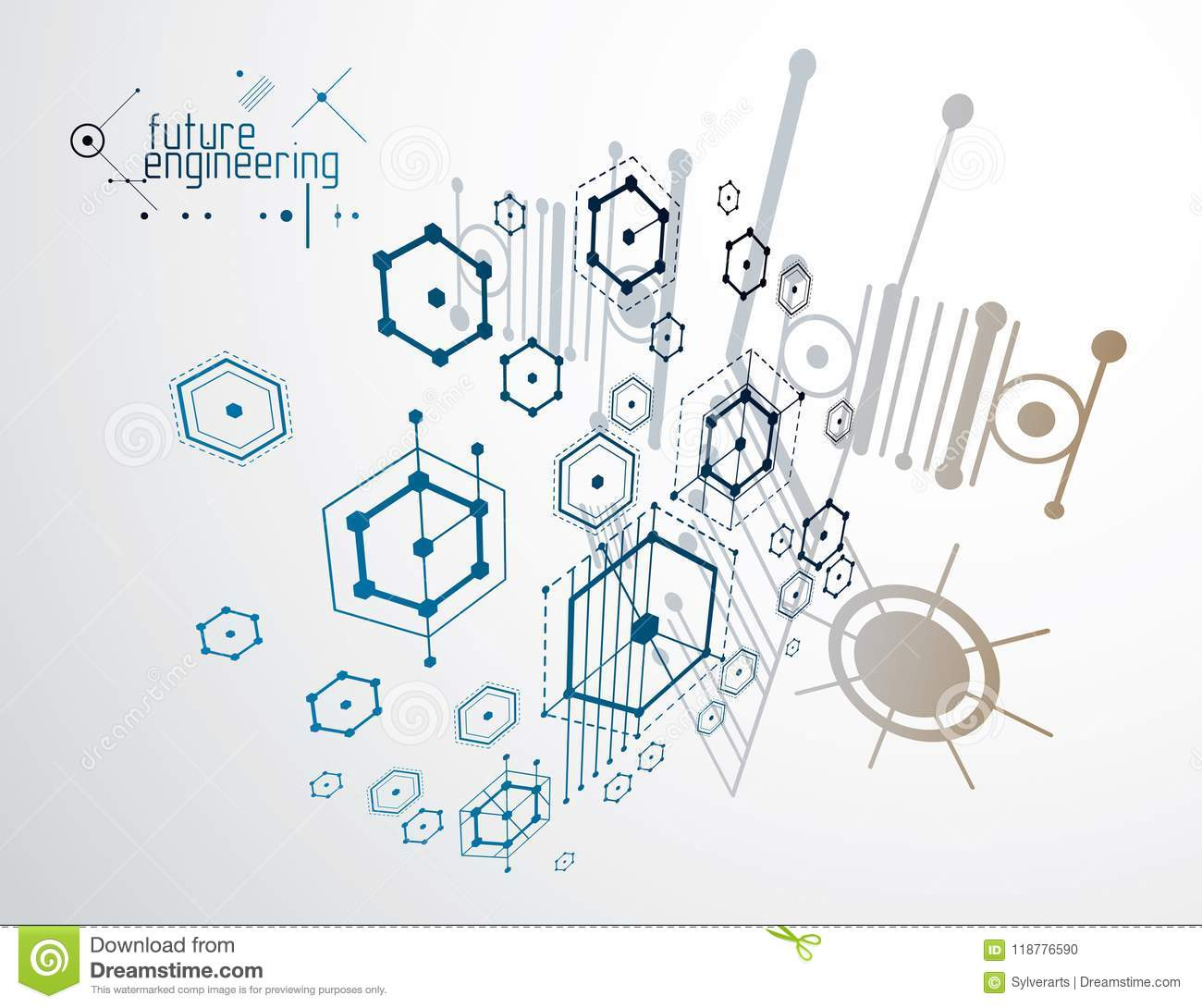 Engineering Technology Vector Wallpaper Made With Hexagons Circ