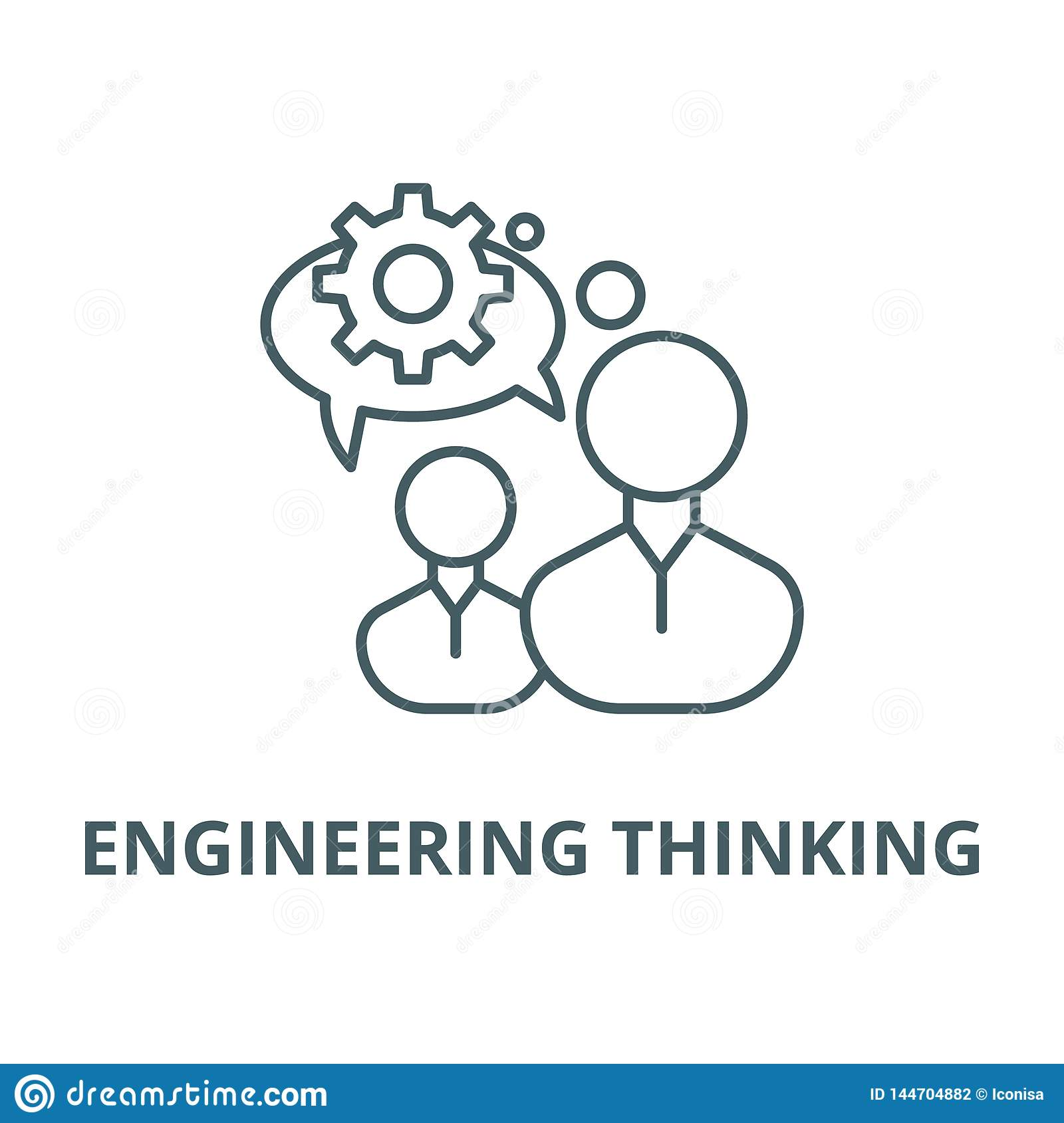 Engineering thinking line icon, vector. Engineering thinking outline sign, concept symbol, flat illustration