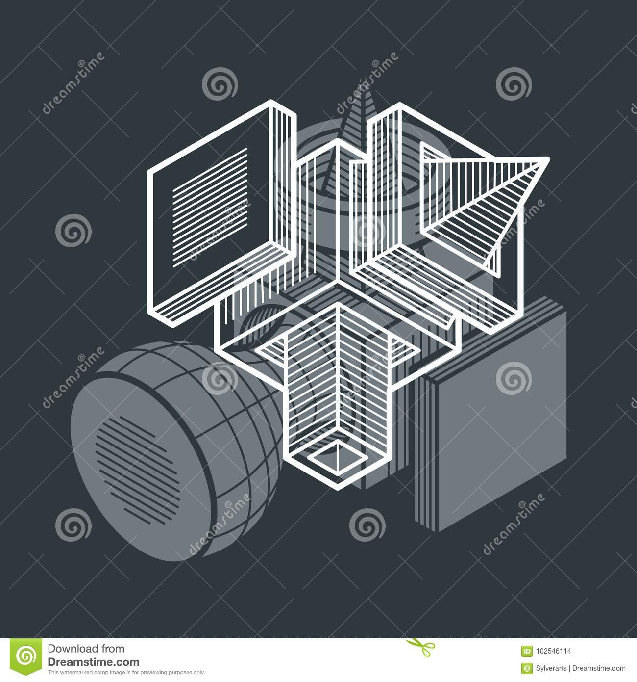 Engineering Three Dimensional Construction Abstract Vector Trig