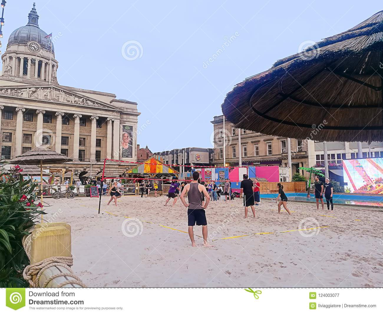 England, beach volleyball near Nottingham city hall