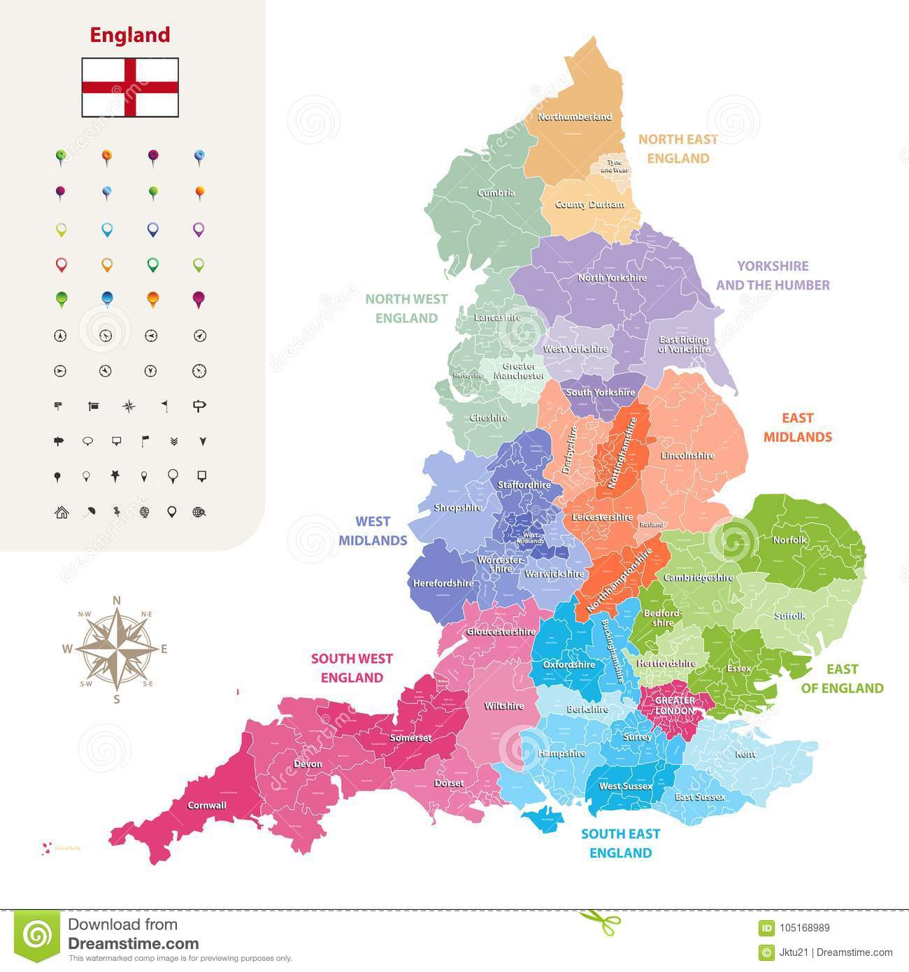 England Ceremonial Counties Vector Map Colored By Regions Stock