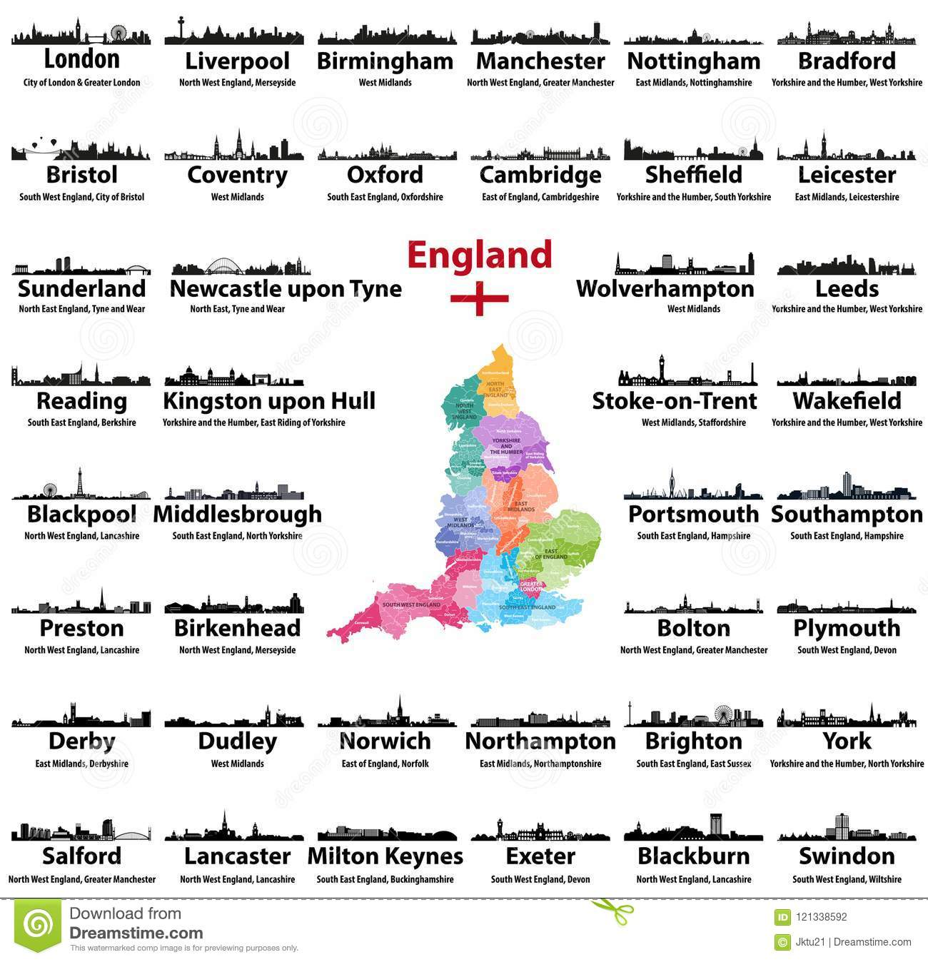 Map Of England Counties And Cities.England Cities Skylines Icons With Names Of City Region And