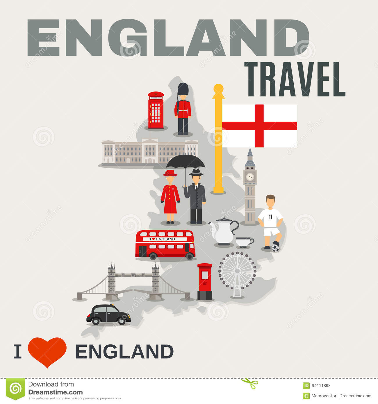 England Culture For Travelers Poster Stock Vector