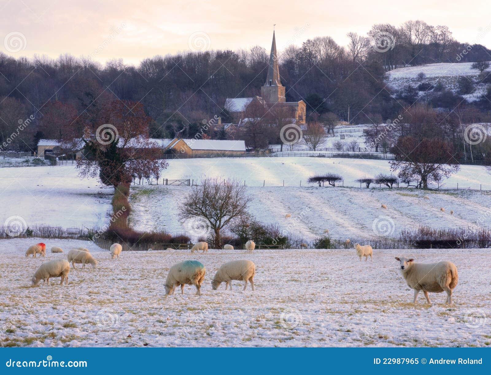England för kyrklig cotswold traditionell vinter