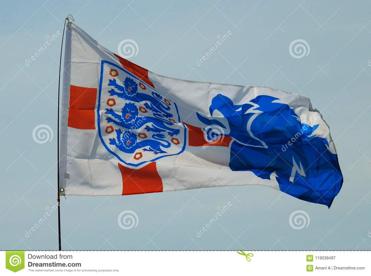 England Internationell Fotboll Team Three Lions Flag Redaktionell ... f74dd73d88ffc
