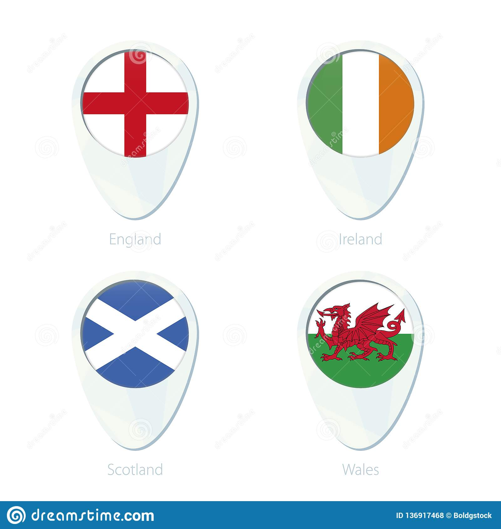 Map Of England Ireland Scotland Wales.England Ireland Scotland Wales Flag Location Map Pin Icon Stock