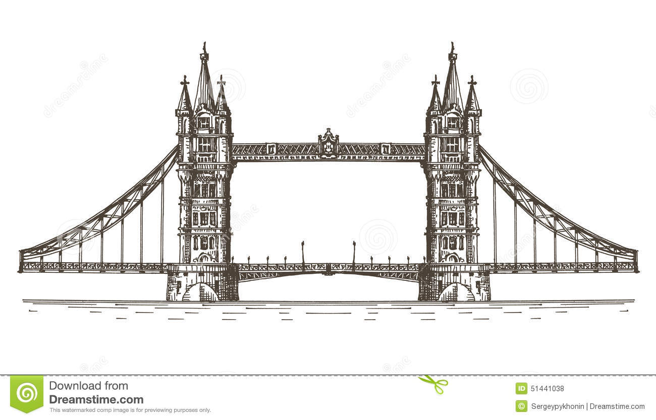 England London The Bridge On A White Background Stock
