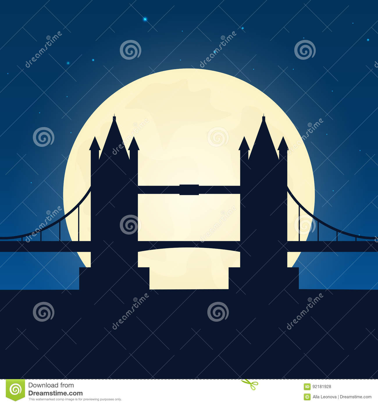 England, London silhouette of attraction. Travel banner with moon on the night background. Trip to country. Travelling illustratio