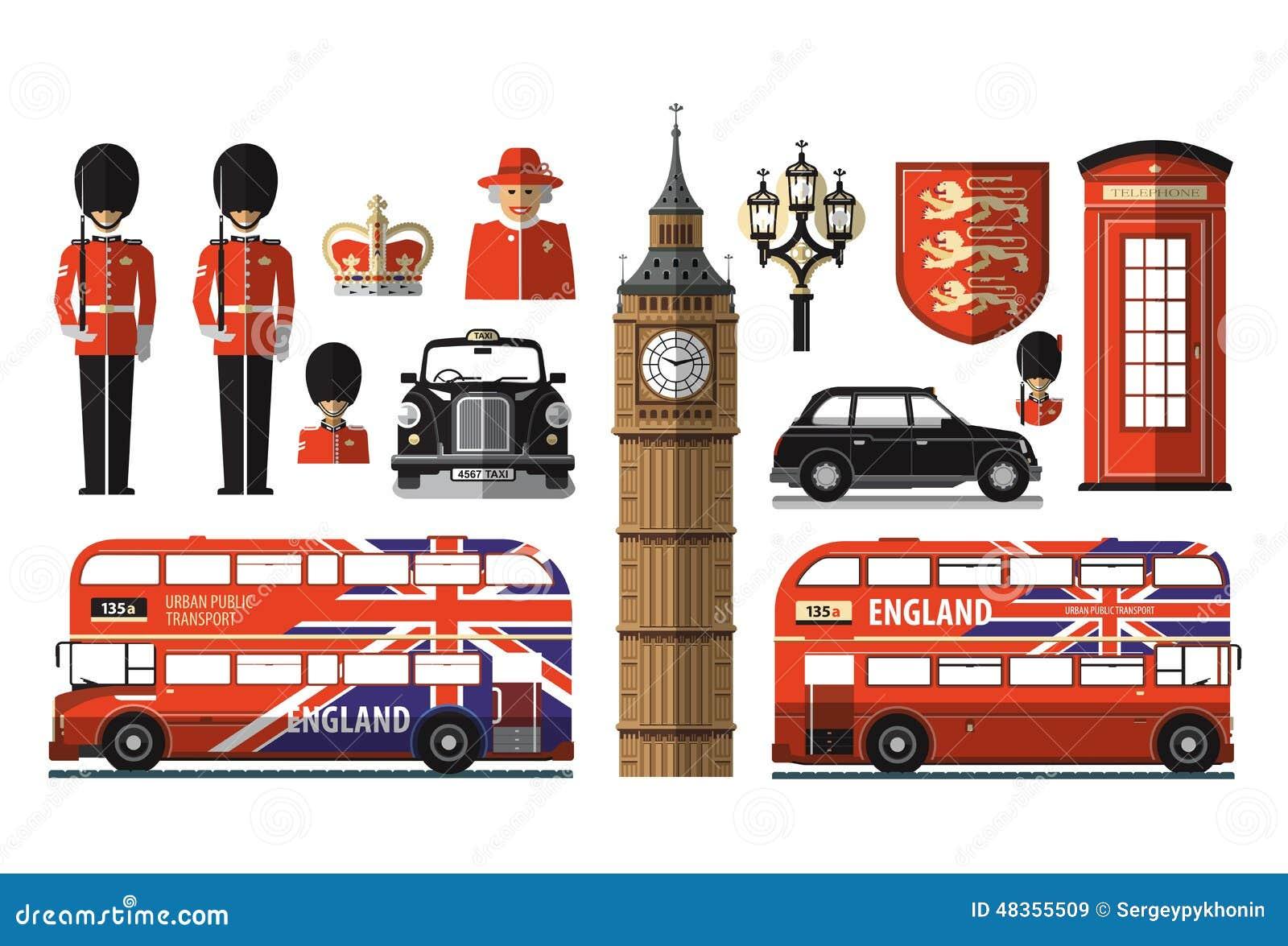 England, London, UK. Set Icons Stock Vector - Image: 48355509