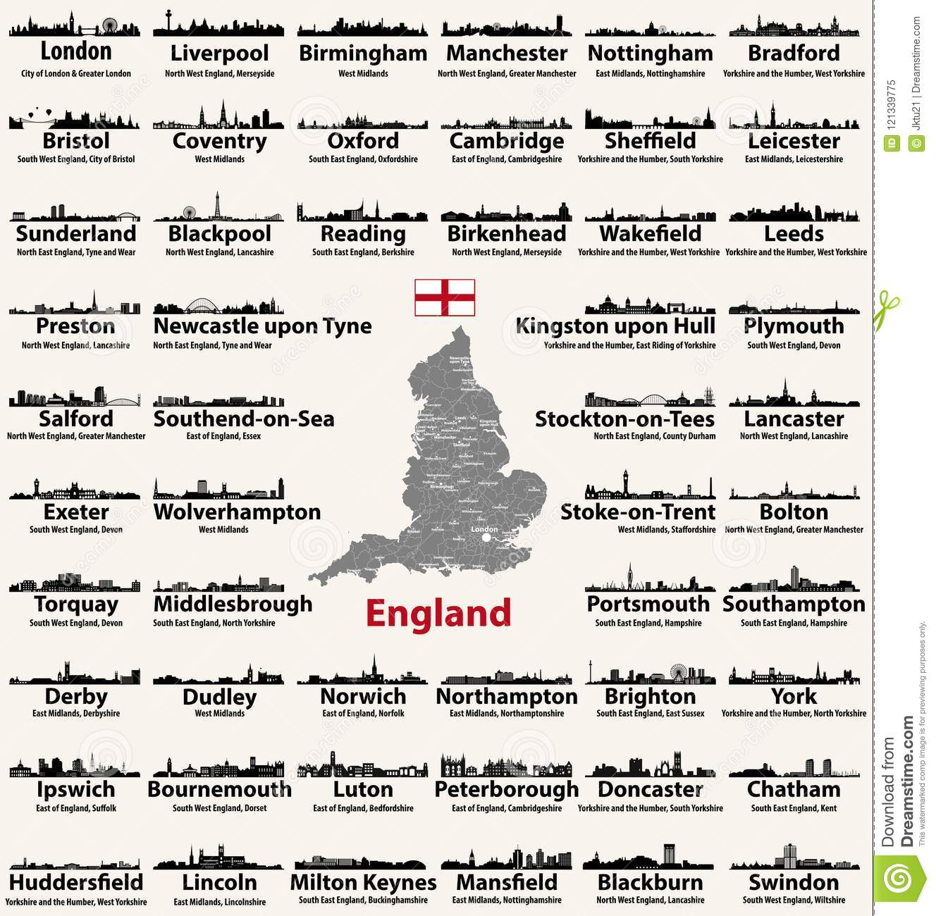 Map Of England Showing Major Cities.England Major Cities Abstract Skylines Silhouettes Icons Map Of