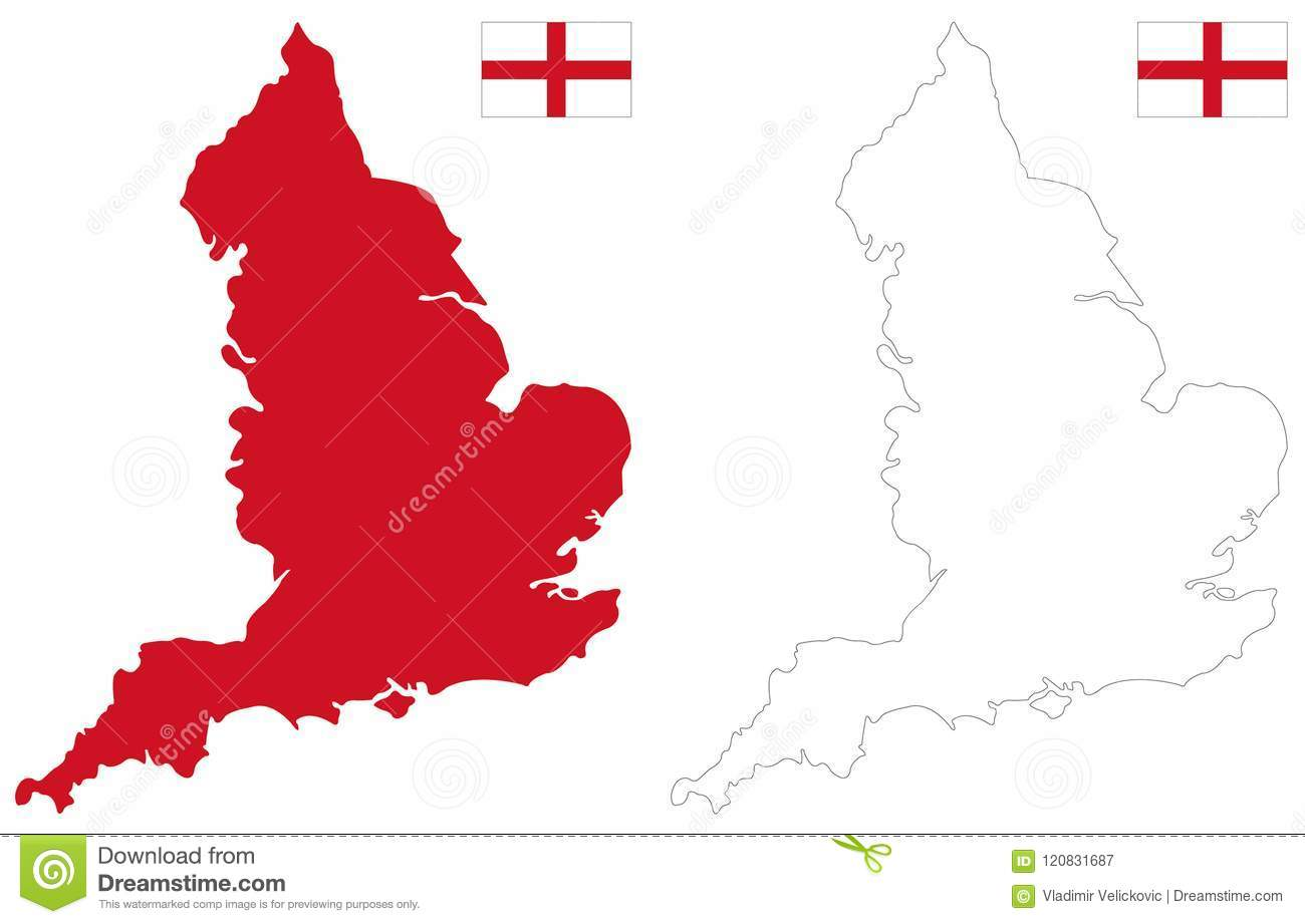 England Map And Flag Country That Is Part Of The United Kingdom