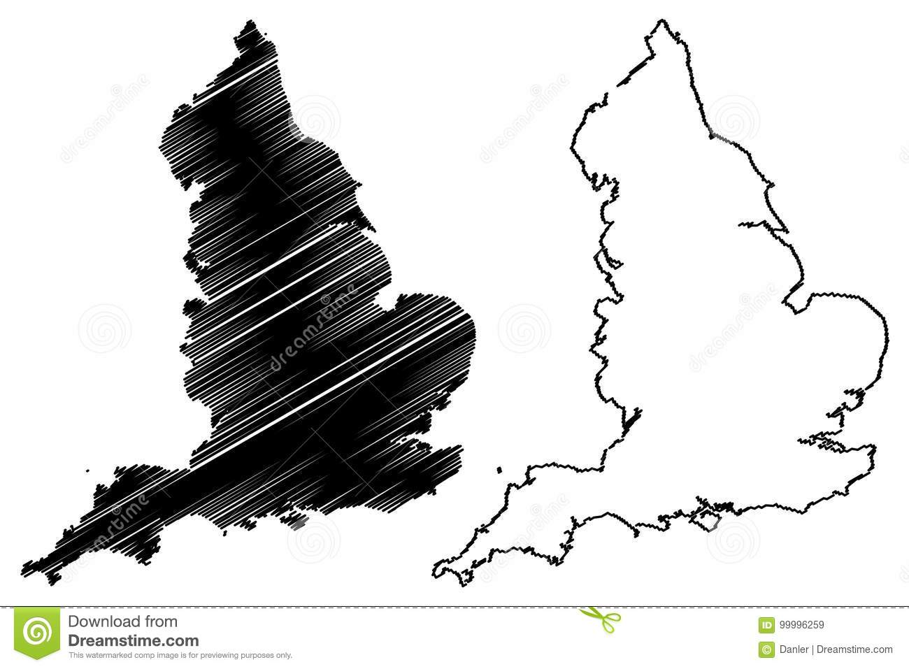 Map Of England Drawing.England Map Vector Stock Vector Illustration Of Drawing 99996259
