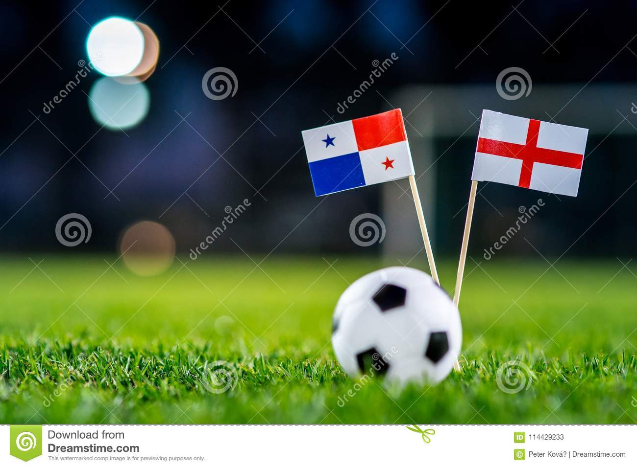 England - Panama, Group G, Sunday, 24. June, Football, World Cup, Russia 2018, National Flags on green grass, white football ball