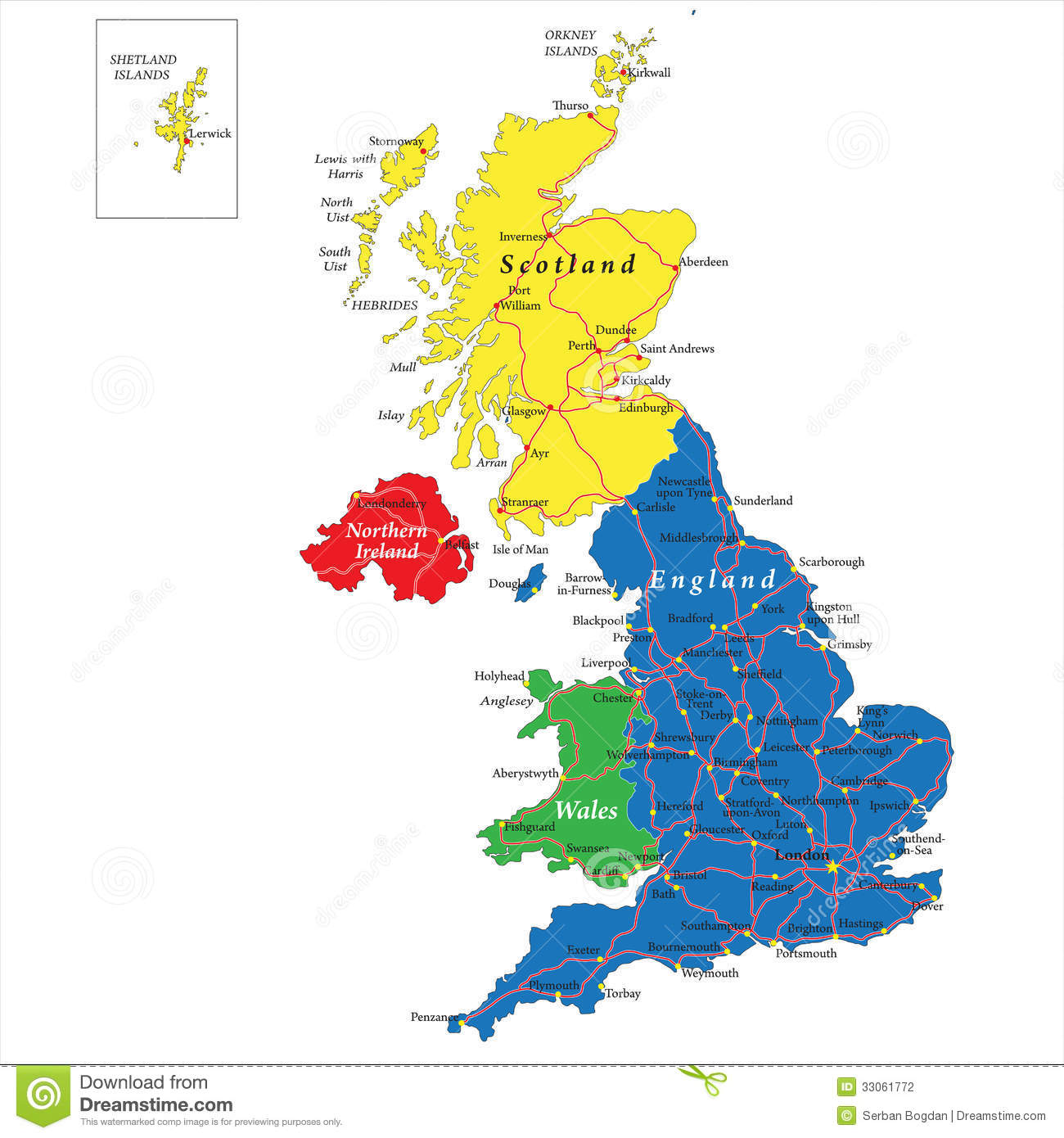 Map Of Uk And Scotland.England Scotland Wales And North Ireland Map Stock Vector