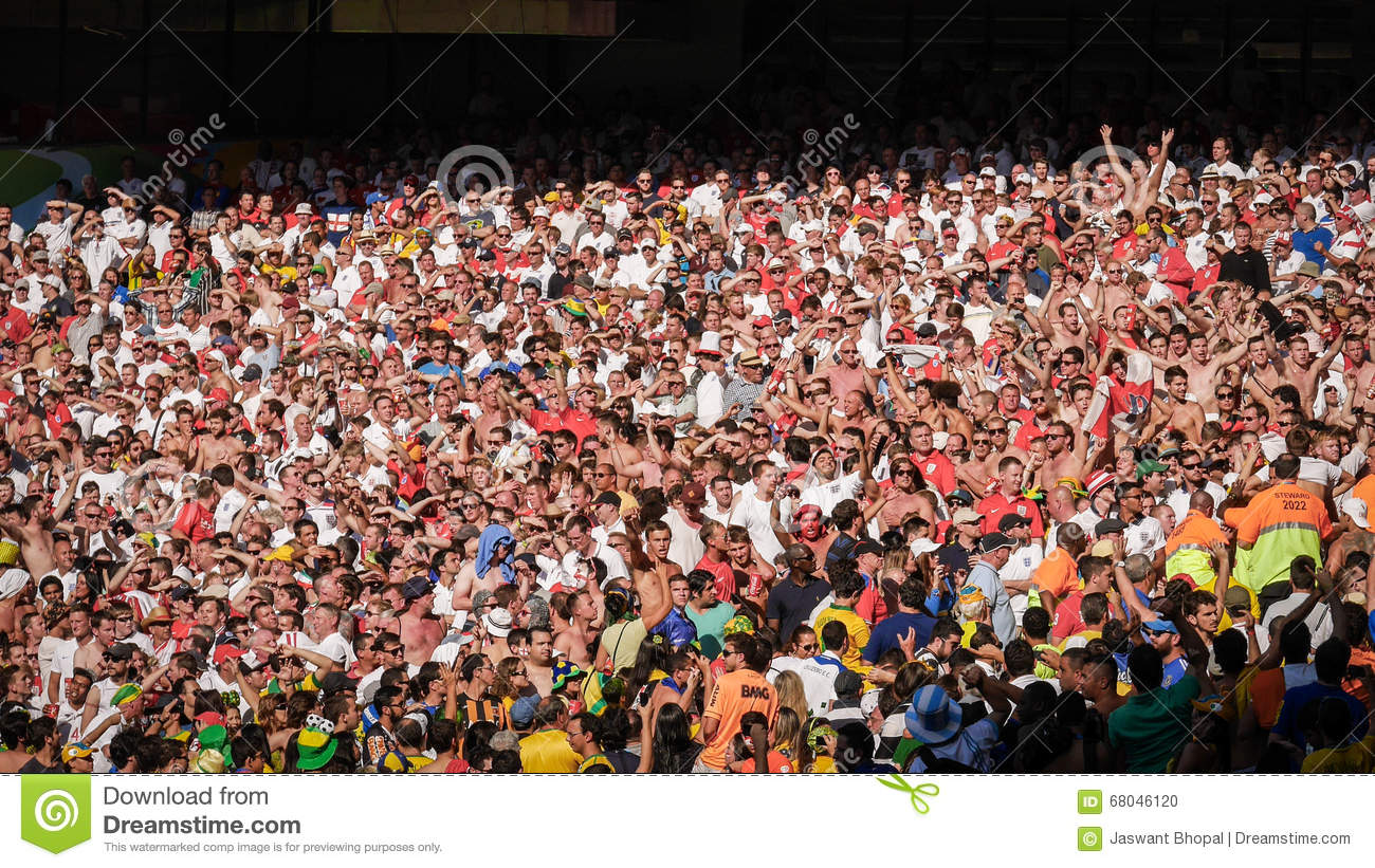 England soccer fans at international football match