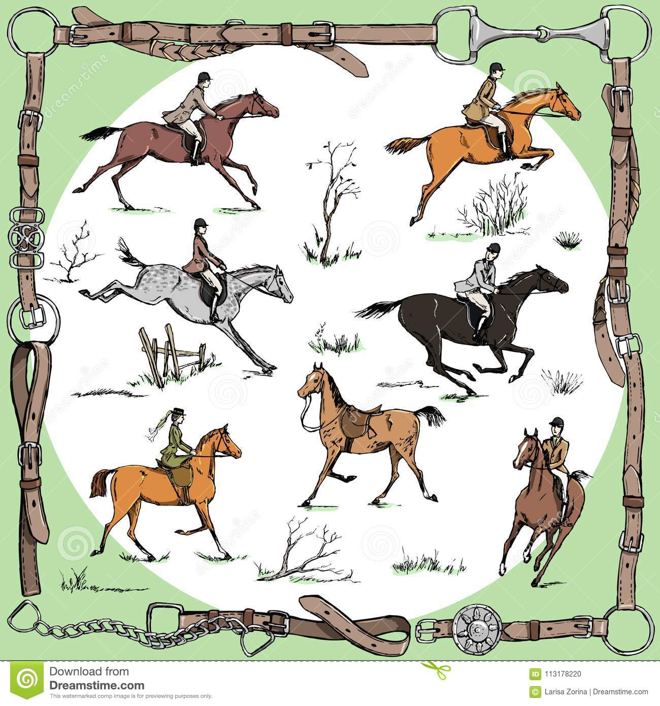 Equestrian Belt Frame With Horse Riders English Style On Landscape And Sport Fox Hunting Stock Illustration Illustration Of Hand Foxhunting 113178220