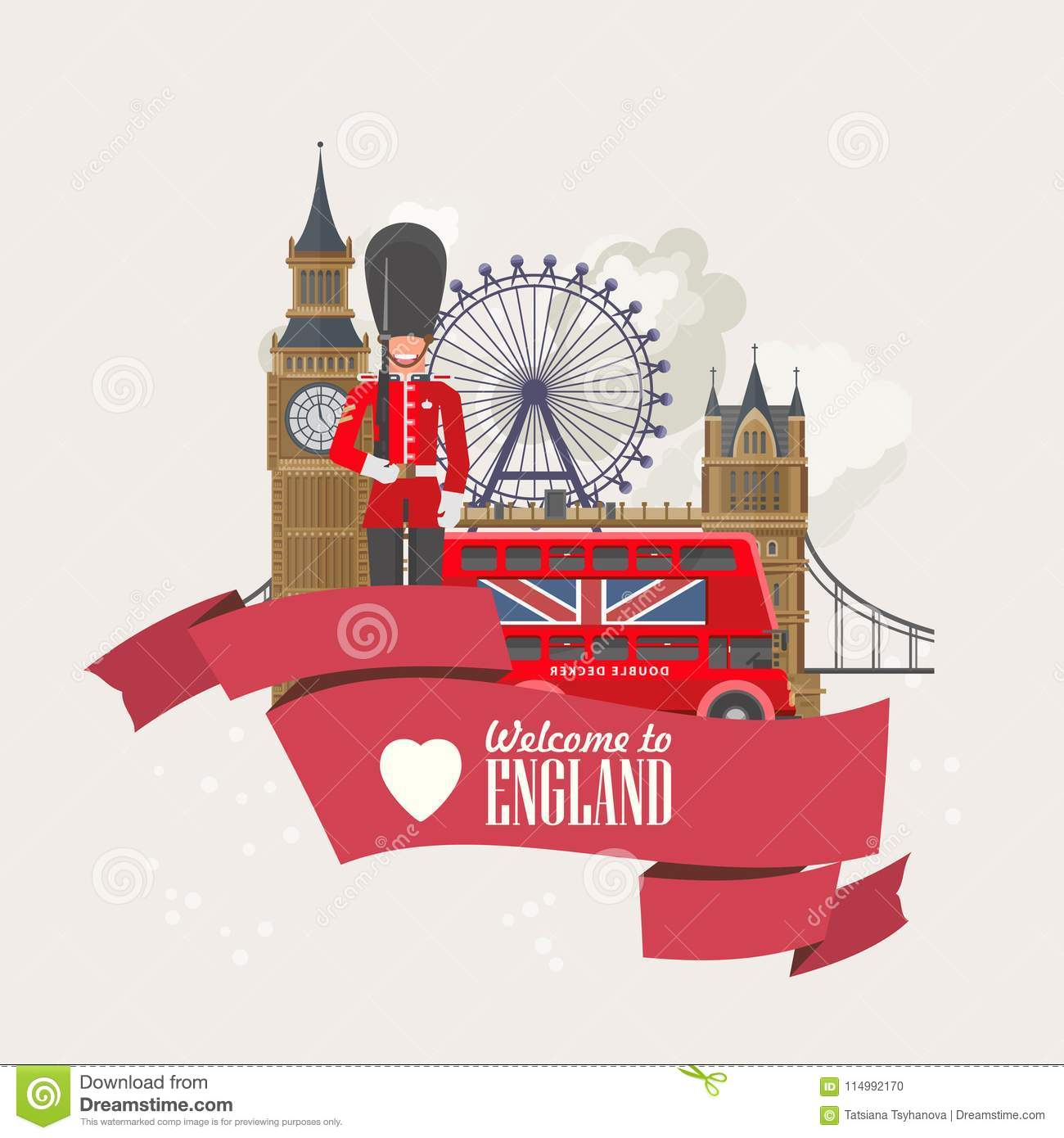 England travel vector illustration with London Eye. Vacation in United Kingdom. Great Britain background. Journey to the UK.