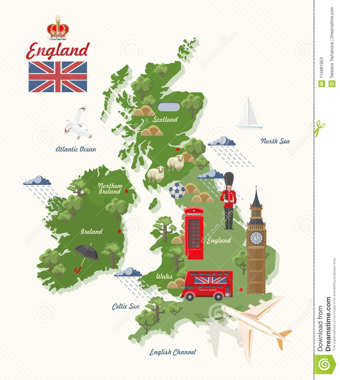 England Travel Vector Illustration With Uk Map Vacation In United