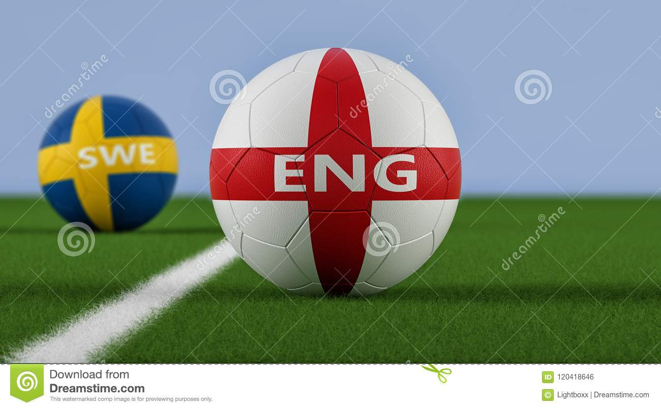8902e5054 Sweden Soccer Match - Soccer balls in Sweden and England national colors on