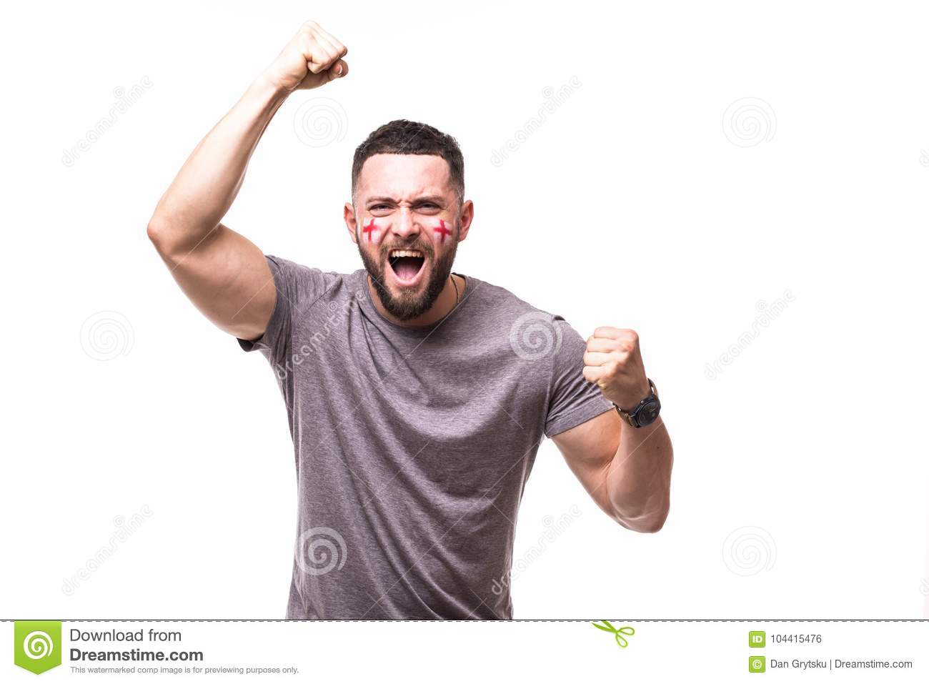 England win. Victory, happy and goal scream emotions of England football fan in game support of England national team on white bac
