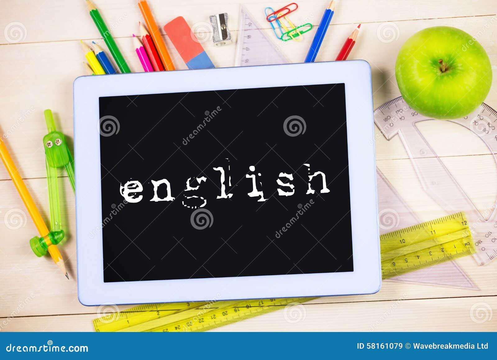 Englisch gegen Studententabelle mit Schulbedarf
