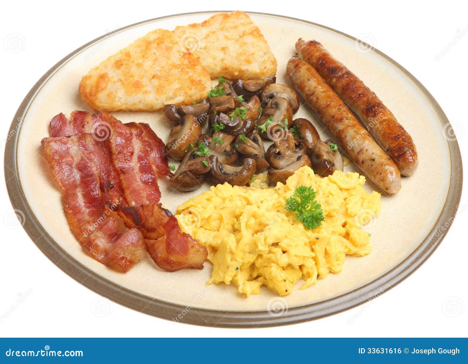 Englisch gekochtes Frühstück lokalisiert auf Weiß