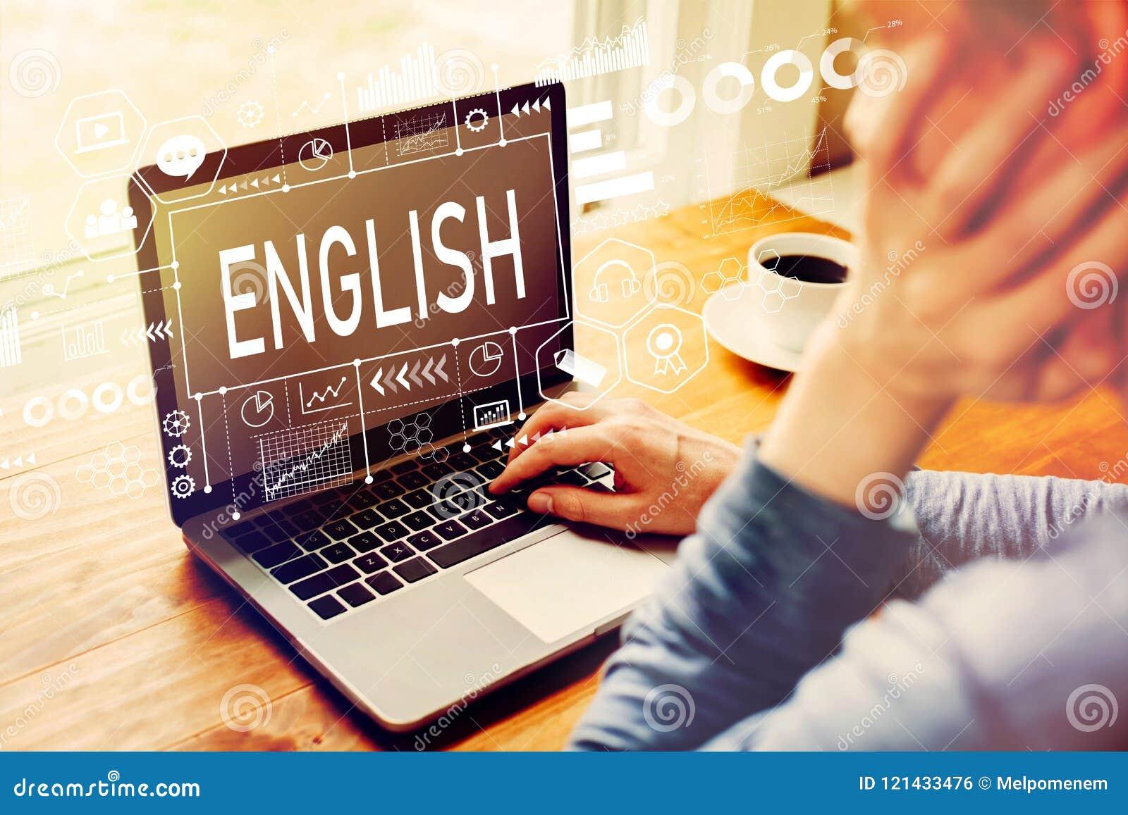Englisch mit dem Mann, der einen Laptop verwendet