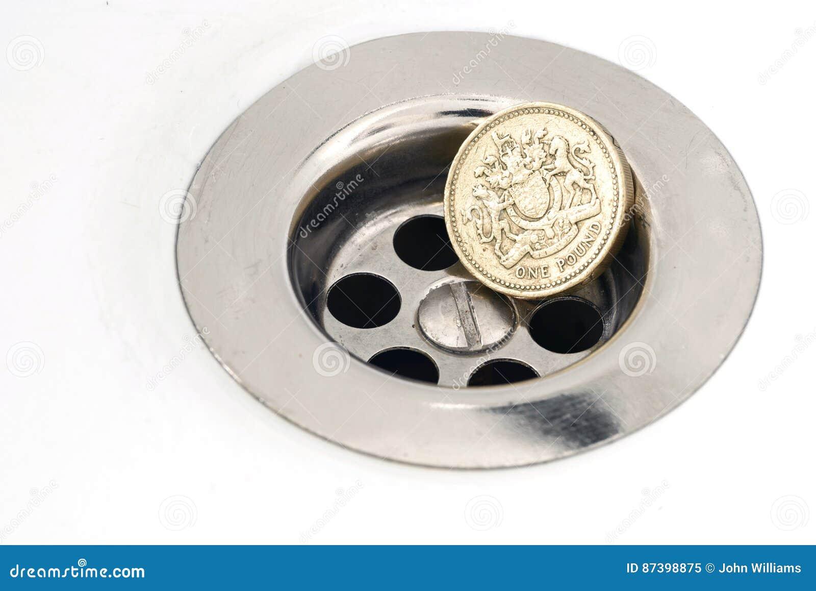 Englische Pfund Münze Und Abfluss Stockbild Bild Von Britisch