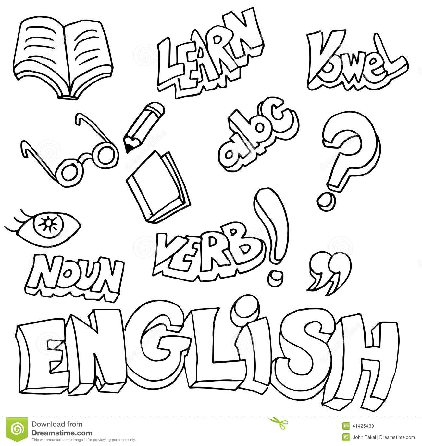 Englische Symbole Und Lernen-Einzelteile Vektor Abbildung ...