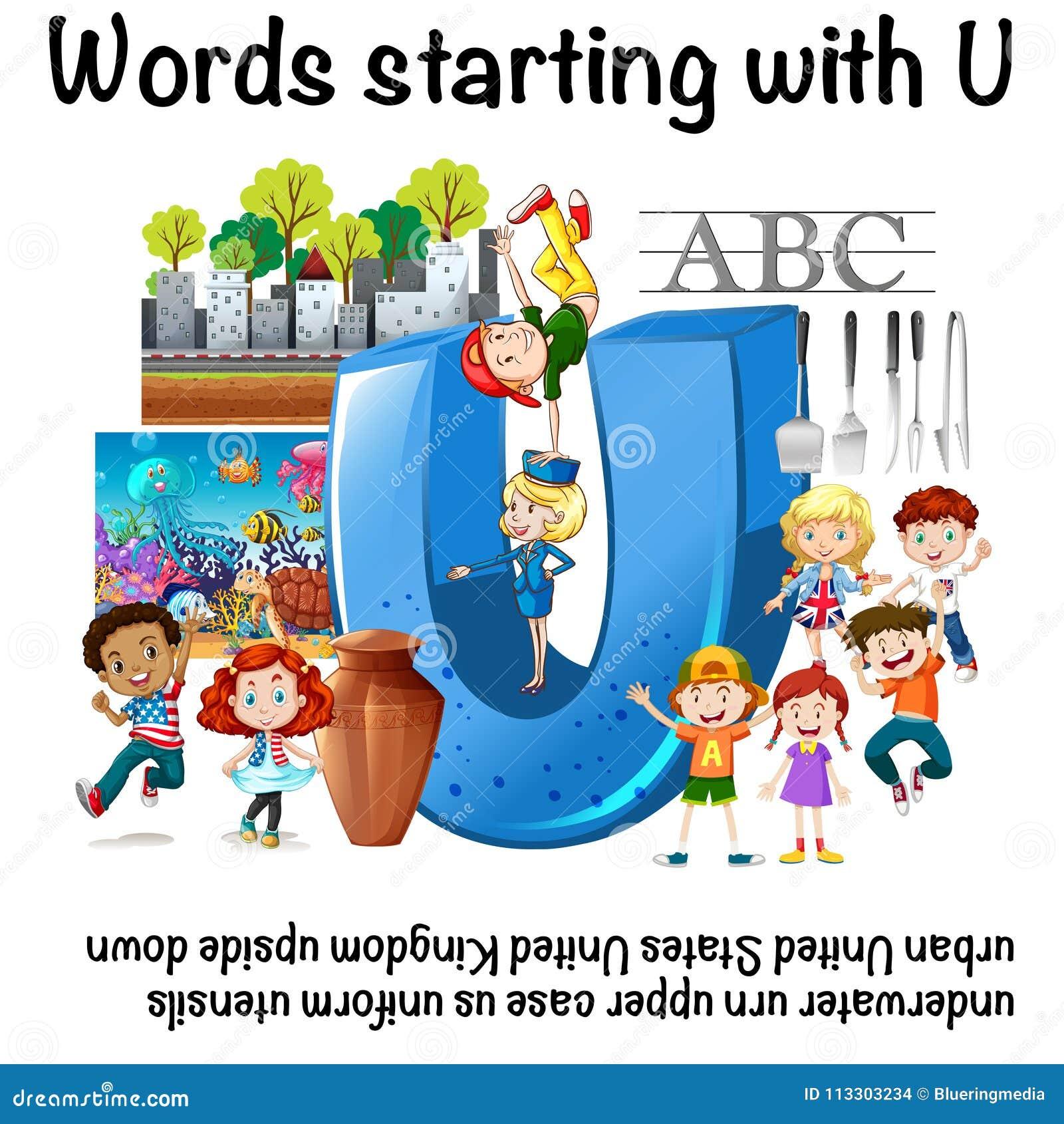 Englisches Arbeitsblatt Für Die Wörter, Die Mit U Beginnen Vektor ...
