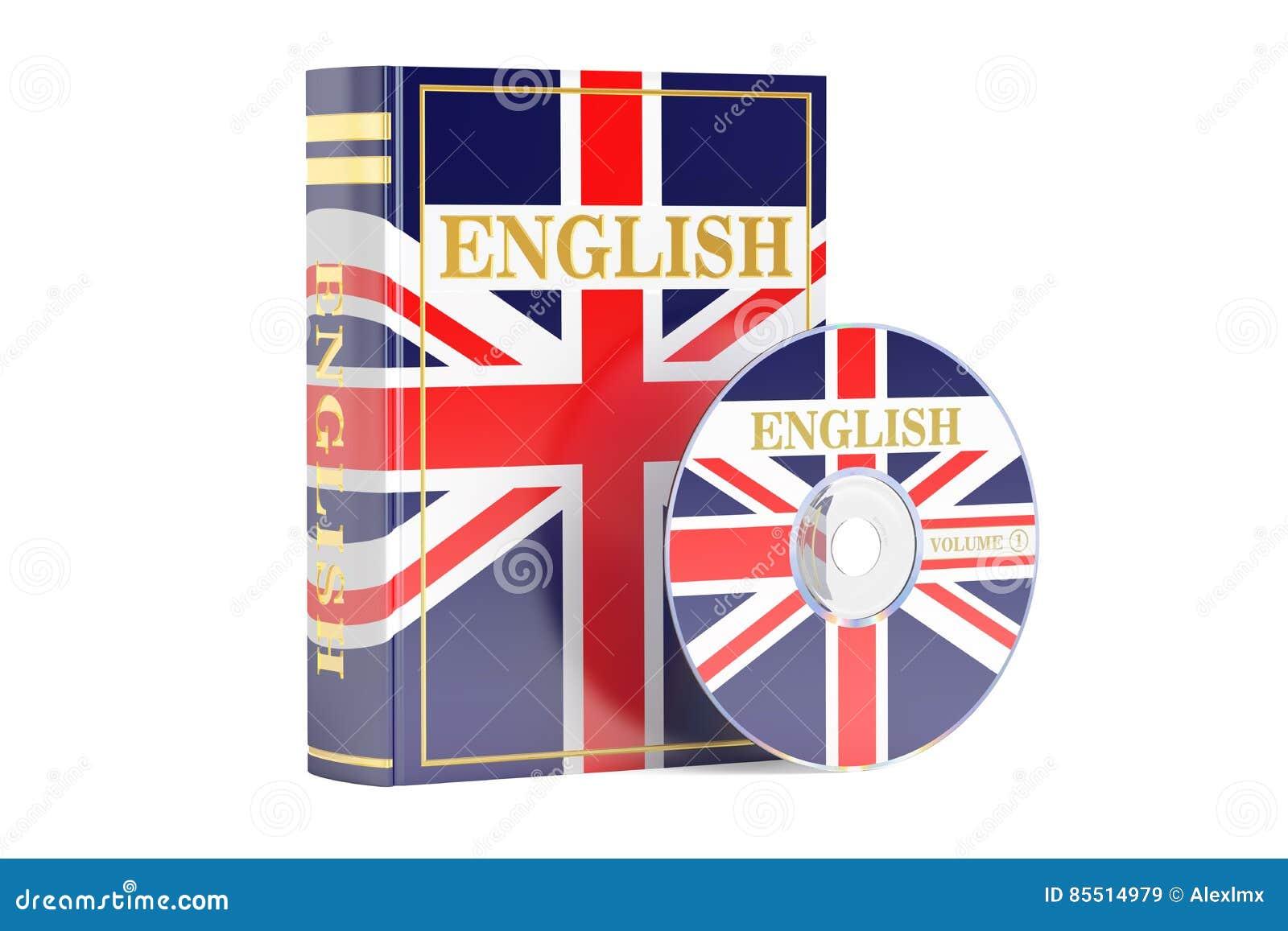 englisches buch mit flagge von großbritannien- und cd-scheibe