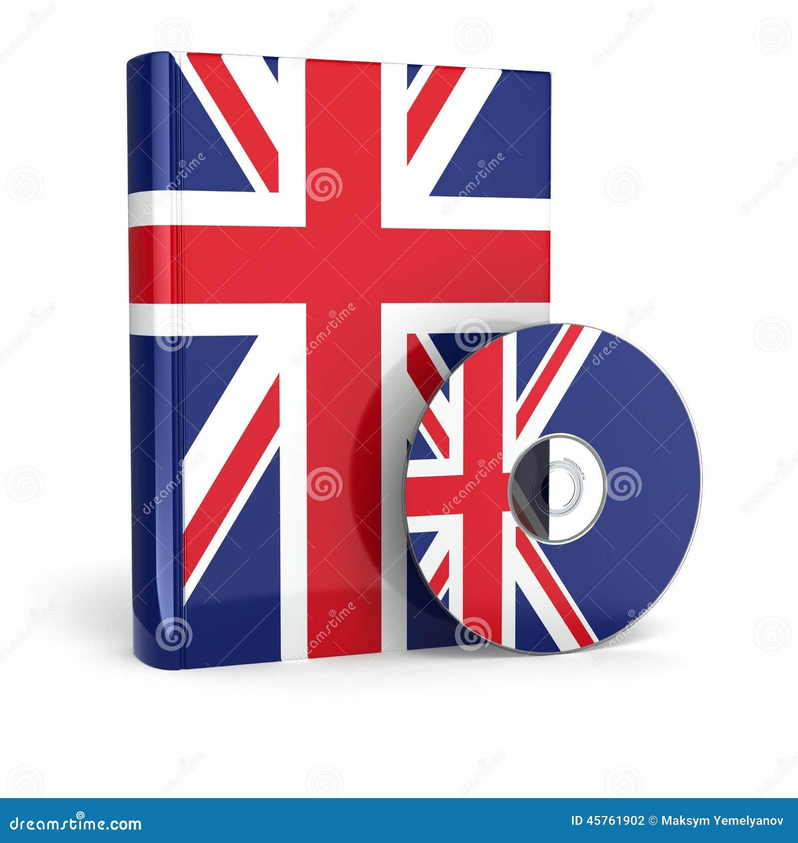 englisches buch in staatsflagge abdeckung und cd stock abbildung