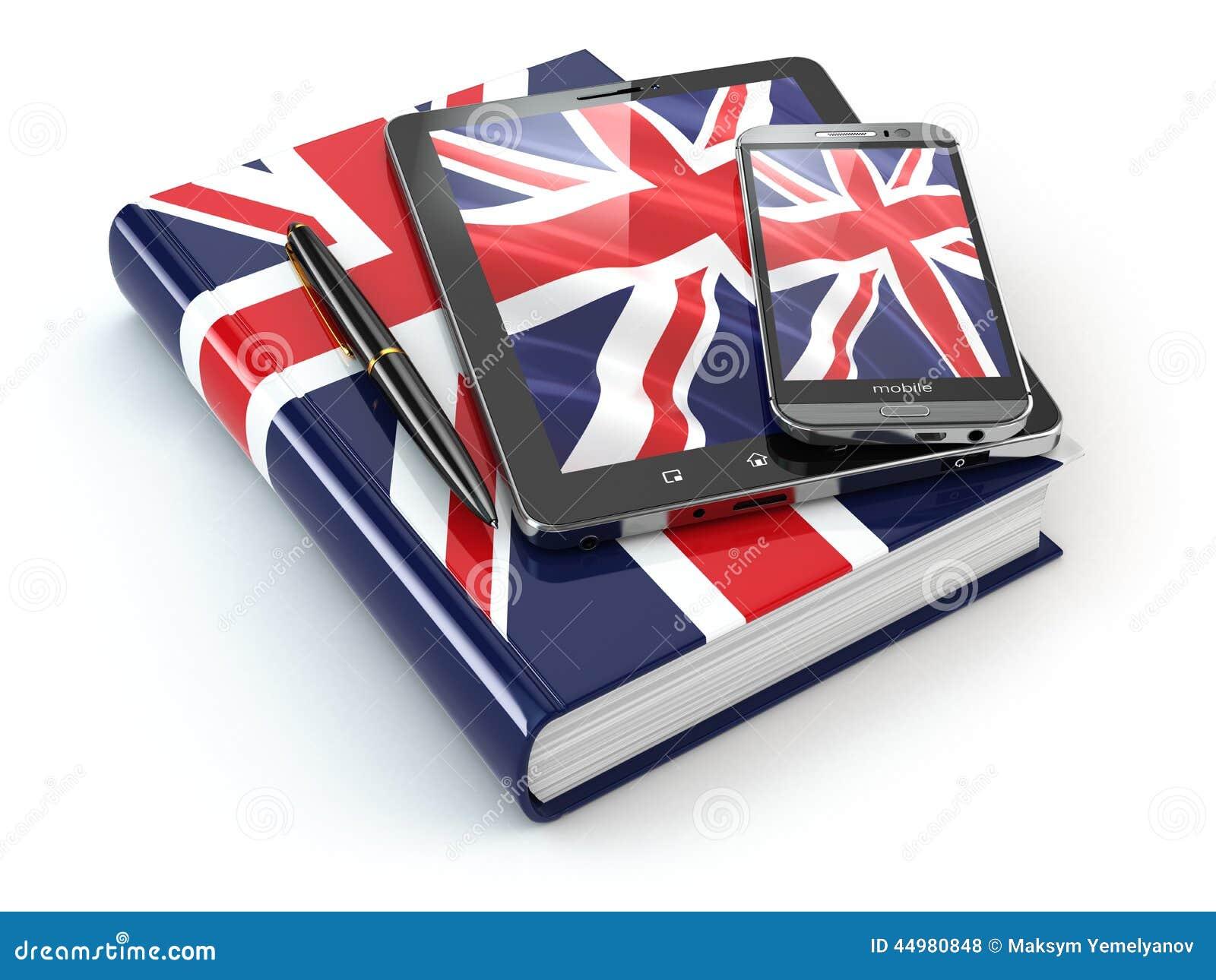 Englisches Lernen Tragbare Geräte, Smartphone, Tabletten-PC und Buch